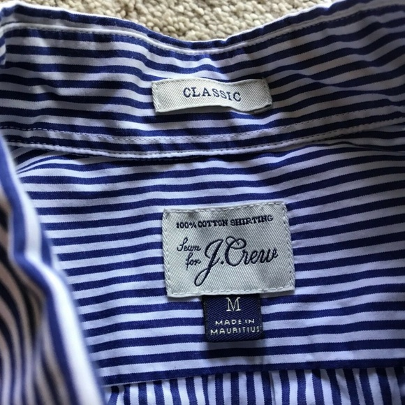 J.CREW Mens' Blue Stripe Button Dress Shirt